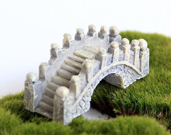 Resin Mini Bridge Miniature Landscape Fairy Garden Moss Terrarium Decoration Tool Garden Crafts DHL Shipping Free