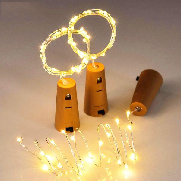 2M 20LEDs LED String Light Cork Shaped Bottle Stopper LED Battery Light Glass Copper Wire String Light For X-mas Party Wedding Decor