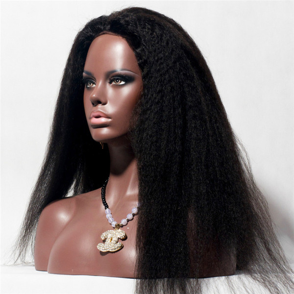 Full Lace Human Hair Wigs Virgin Peruvian Hair kinky Straight Lace Front Wigs For Black Women Baby Hair Freeship