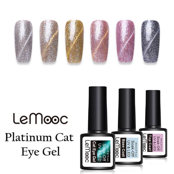 lemooc 8ml platinum magnetic cat eye gel nail polish glitter sequins gel varnish soak off uv nail art polish
