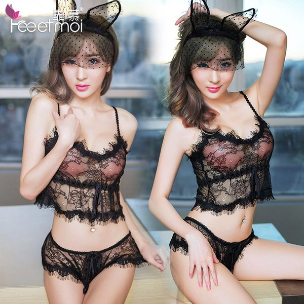 2018 New Black White Sexy Lingerie Transparent Lingerie Hot Sex Erotic Lace Baby Doll Negligee Nightgown