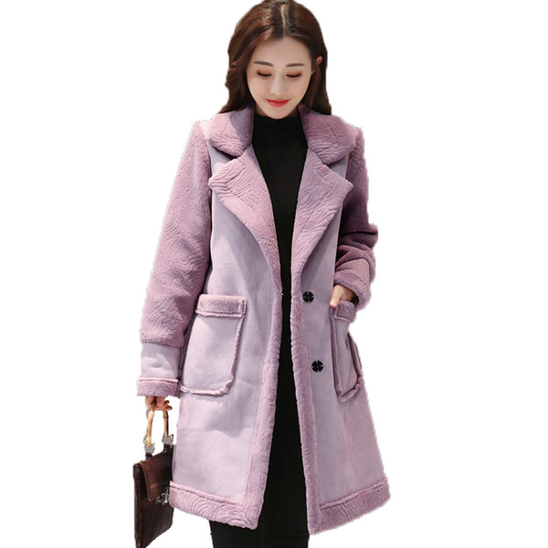 2018 Women's Winter Coat Lapel Faux Fur Fleece Lined Parka Warm Winter Coat Ladies Suede Leather Jacket Long Plus Size Clothing