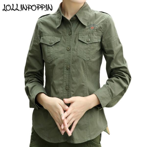 Estilo Mujeres Ejército Verde Camisa Con Epaulets Manga Larga Turn Down Collar Damas Bordado Camisas Casuales Camisa del Ejército