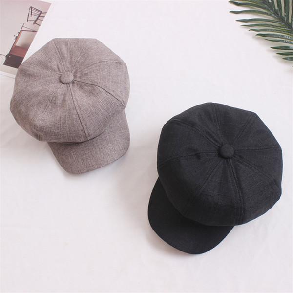 Moda Cor Sólida de Algodão Tampas de Linho Octagonal Cap Boina Chapéu Casual Vintage Chapéus Jornaleiro Cap