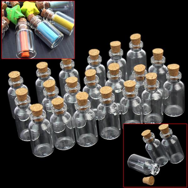 20pcs Mini chiari messaggi trasparenti che desiderano la bottiglia di vetro con le note del messaggio del sughero Borda i semi vario artigianato contenitore della bottiglia