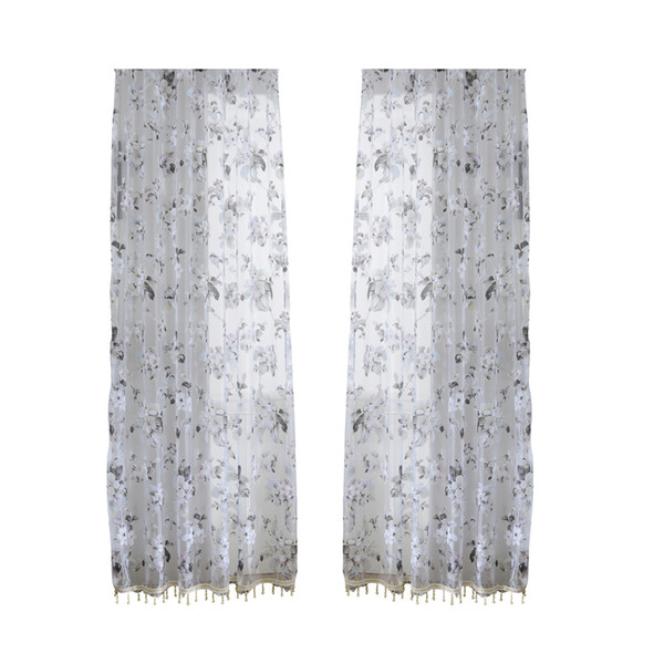 2019 Orchid Flower Sheer Curtains Window Screen Window Gauze Door Scarf  Drapes Valance For Room Decor Black And White From Huayama, $21 67 |