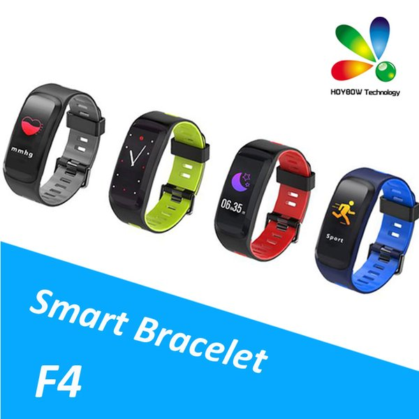F4 Smart Bracelet Watch Band Color Screen fitness tracker Blood Pressure Heart Rate Monitor Thermometer Pedometer for Android IOS DHL
