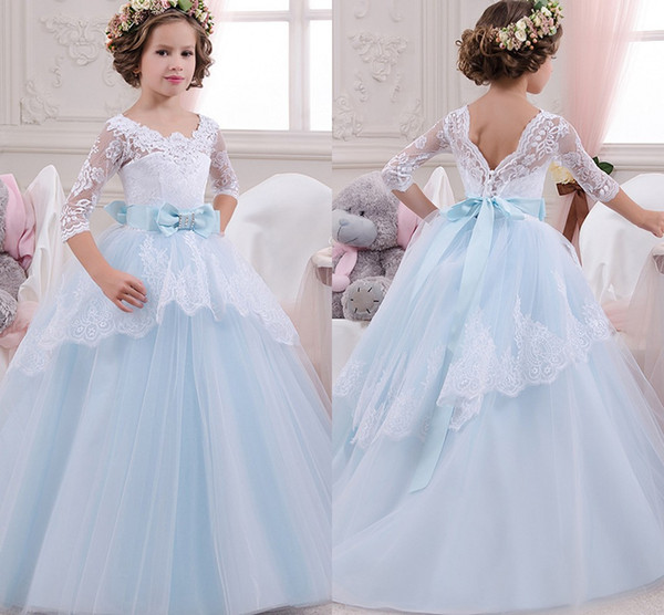 White Light Blue Flower Girls Dresses with Sleeves Lace Tulle Bow Lovely Ball Gown Girls Pageant Dresses for Weddings Party Long