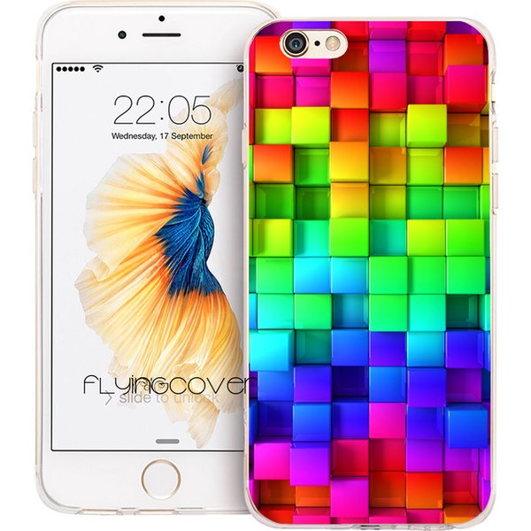 Coque Blocks Rainbow 3D Clear Soft TPU Silicone Phone Cover for iPhone X 7 8 Plus 5S 5 SE 6 6S Plus 5C 4S 4 iPod Touch 6 5 Cases.