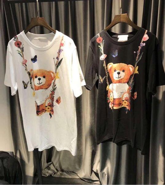 Yeni Etiket Yüksek Kalite baskılı Çiçek Ayı kadın T-Shirt Streetwear Gevşek Tasarım siyah ve beyaz kadın Tişörtleri moschionitied üstleri tee