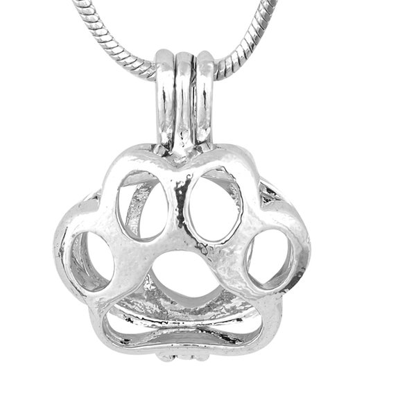 Beautiful Hollow Cage Pendant Silver Color PAW Pearl Gem Bead Cage Pendant DIY Fashion Jewelry P84