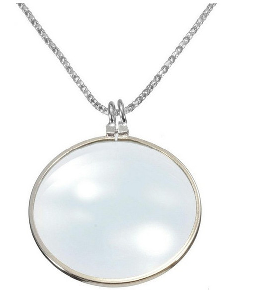 6x Magnifier Pendant Necklaces for Women Gold Sliver Round Magnify Glass Reading Decorative Monocle Necklace for old people