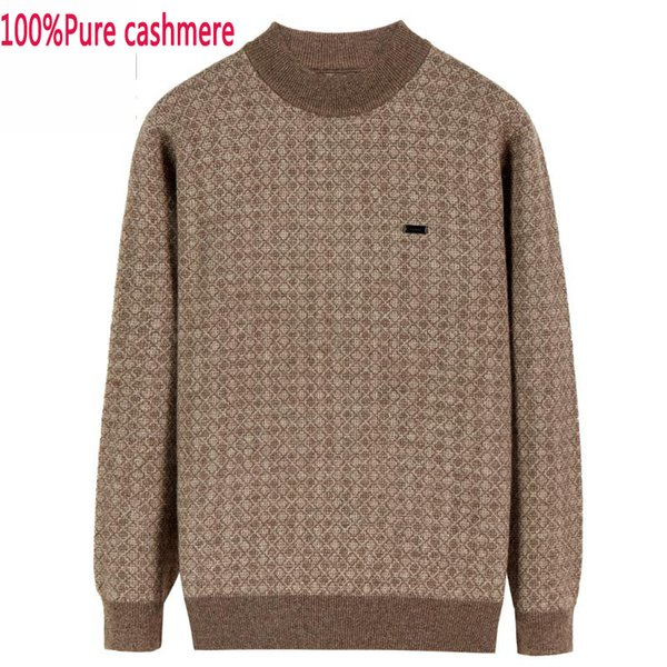 new arrival Men 100%Pure Cashmere Sweater Thickened Knitted Jacquard Autumn Casual O-neck Pullovers Sweater Men plus size XS-5XL