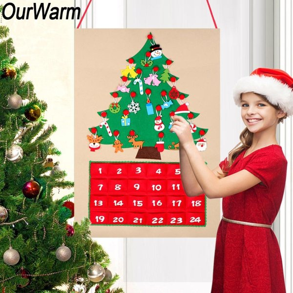 wholesale Date 1-24 1-31 Advent Calendar Felt Countdown to Christmas Wall Door Hanging Ornaments Christmas Decoration for Home