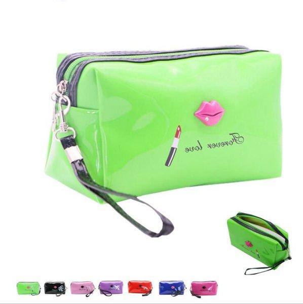Woman Cosmetic bag contracted lipstick handbag Patent Leather Makeup Bag Lady Cosmetic Cases Travel Organizer Bag LJJK953