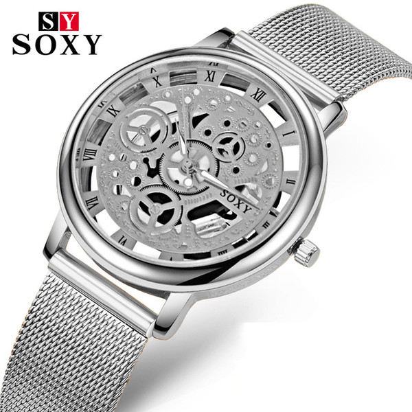 SOXY  Skeleton Watches Men Fashion Gold Quartz Watch Man Clock Men's Watch relogio masculino reloj hombre erkek kol saati