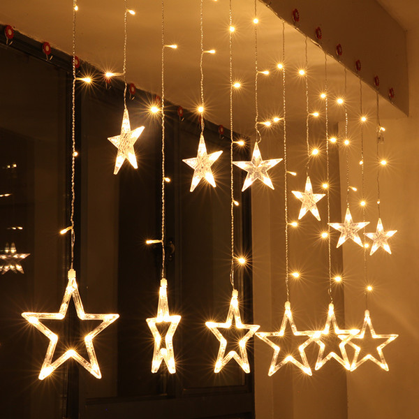 Christmas Led String Lights.Curtain Star String Lights New Year Decoration Christmas Led Lights Warm White Pink Purple Red Rgb Outdoor Festive Led String Globe Lights Fairy