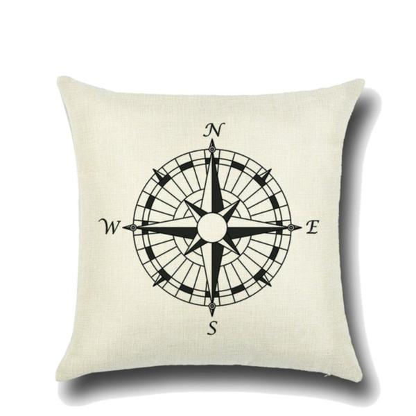 Pillowcase 45cm Nautical Sailing Anchor Sailor Compass Style Linen Pillow Cover Bedroom Pillowcases
