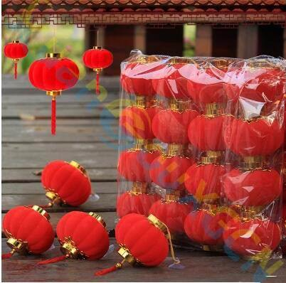 small Lantern pendant Chinese New Year Spring festive ornaments Potted plants party hotel Home bar Xmas Decoration Scene layout