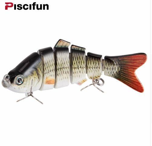 Señuelo de la pesca de Piscifun 10cm 20g Ojos 3D de 6 segmentos de pesca realista señuelo duro Crankbait con 2 cebos de pesca de cebo Pesca Cebo