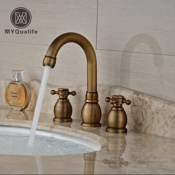 best selling Antique Brass Dual Handle Basin Faucet Widespread 3 Hole Bathroom Mixer Taps Deck Mount