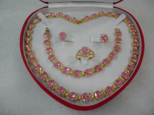 Beautiful women/'s jewelry set Necklace Bracelet Ring Earring pink +box