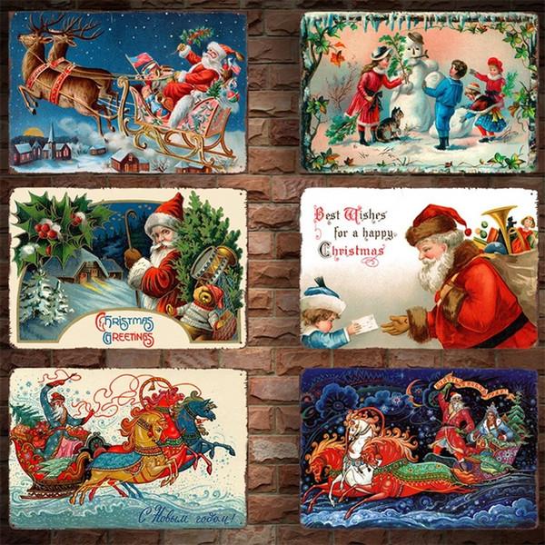 Babbo Natale Barattoli Poster Decorazione della casa Vintage Metallo Ferro dipinto Natale Targa in metallo Coffee Shop Decorazione parete 30 * 20cm 4 2dm C