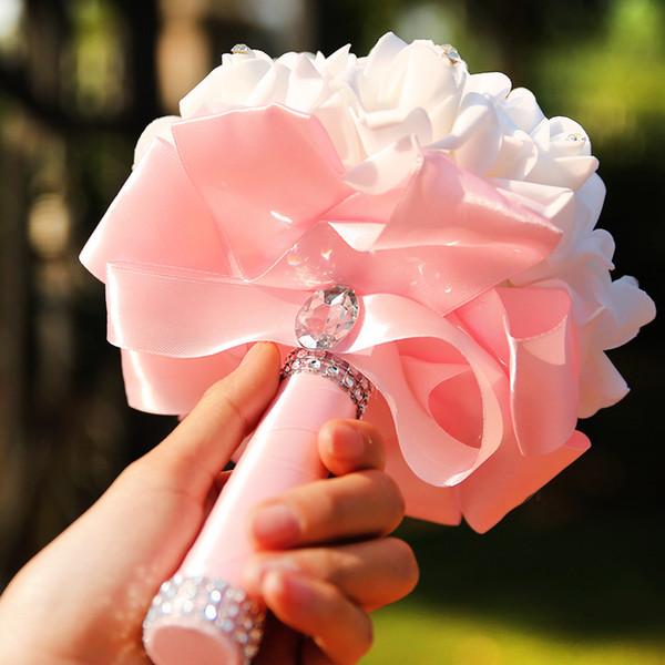 Güzel Beyaz Pembe Perals Düğün Buketleri ile Şerit Romantik Çiçek Gül El Yapımı Yapay Gelin Buketi Düğün Aksesuarları CPA1580