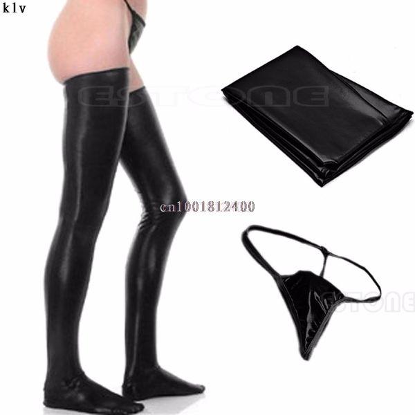 Populaires Super Deal Noir En Cuir Bas Dos Zipper De Haute Qualité Femmes Bas Nouveau Sexy Lady À La Mode Leg Wear Noir Rouge