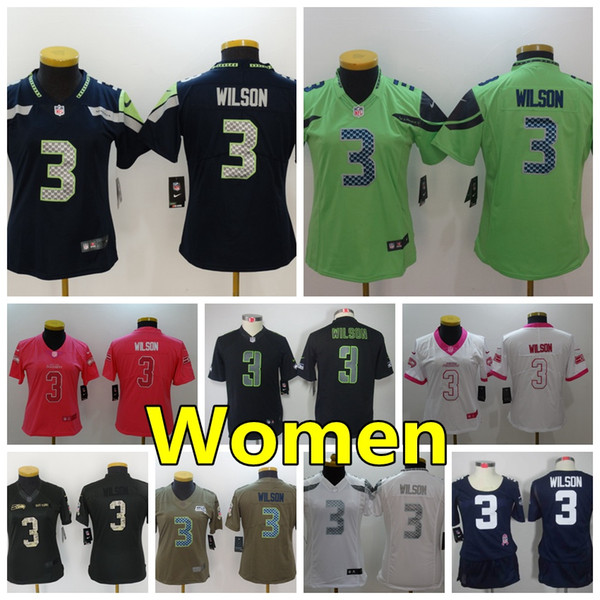 new style f7a6e c2b9d 2018 Women 3 Russell Wilson Seattle Seahawks Football Jersey 100% Stitched  Embroidery Russell Wilson Color Rush Women Football Shirts From Mn_space,  ...