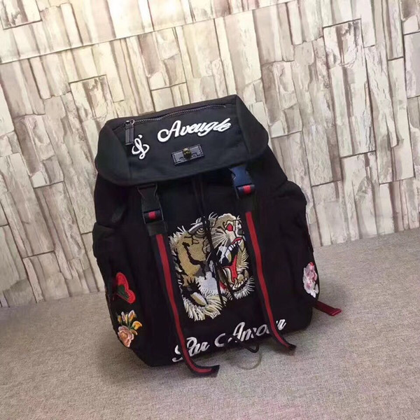 Tiger Embroidery Techpack with embroidery luxury designer travel bag man backpack shoulder bags book bag
