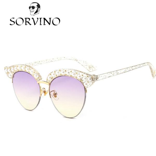 SORVINO 2018 Pearl Cat Eye Sunglasses Mujeres Diseñador de la Marca Medio Marco Vintage Diamond Crystal Glitter Gafas de Sol Sombras OM541