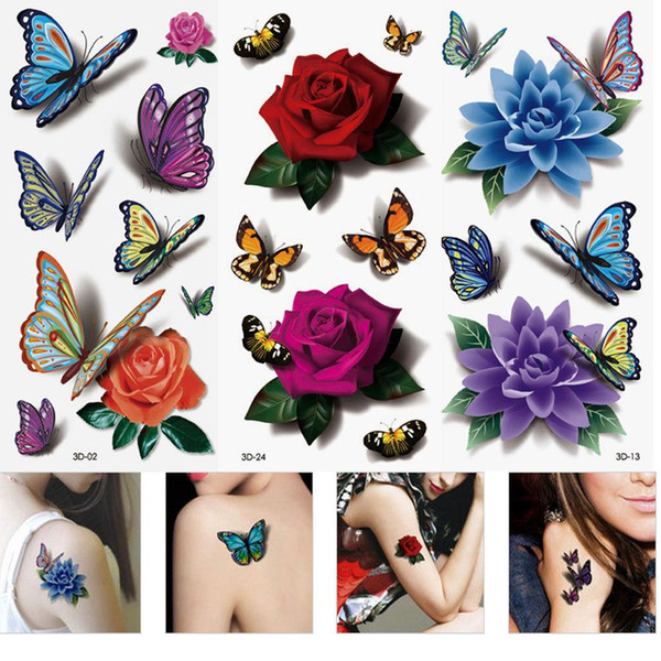 3 Sheets Women's 3D Colorful Waterproof Body Lip Art Sleeve DIY Stickers Glitter Temporary Tattoos Mini Rose Flower Butterfly