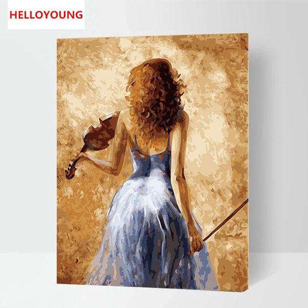 Violin Piano Passion rhythm Elegance Art Music Digital Painting DIY Handpainted Oil Painting by numbers oil paintings