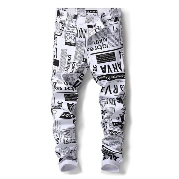 Novo 2018 Men `s Impresso Calças Jeans Estilo Punk Gothic Black Pintado DJ clube Noite Magro Leg Cool White Jeans Para Homens Jovens
