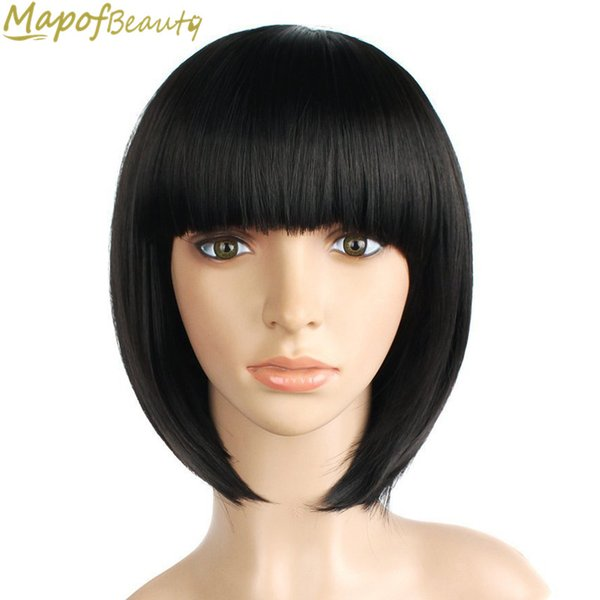 "Natural Short Straight Bob Wig Synthetic Hair For Women Dark Black 12"" Heat Resistant Female Fake Hair with Bangs MapofBeauty"