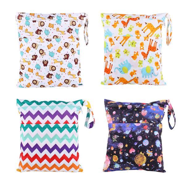 2018 New Wet Bag Washable Reusable Cloth diaper Nappies Bags Waterproof Swim Sport Travel Carry bag Big Size:36X30cm