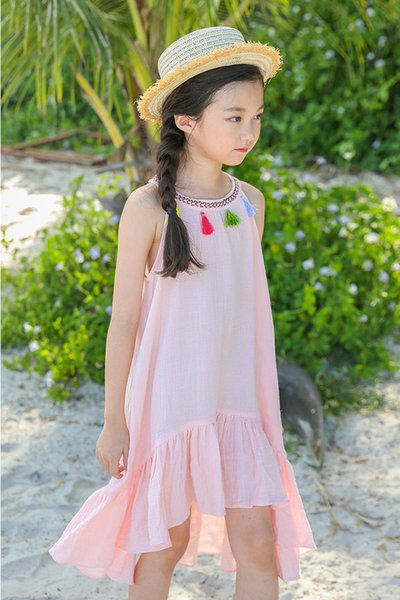 4 to 12 years wholesale Girls' dress summer tassel clothing beach clothing Bohemia style kids wear, 6AAB512DS-99, [ElevneStory_dh]