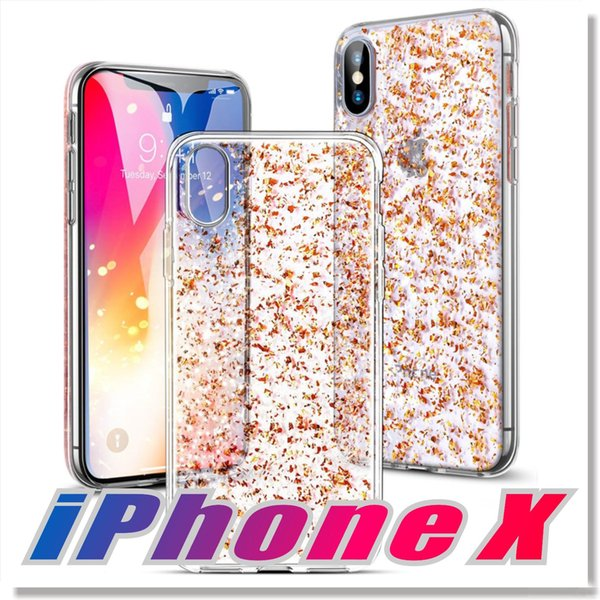 For iPhone X Samsung galaxy S9 Plus luxury Case with 3D Gold Sparkle Glitter Back Soft TPU Cases with Bling Shining Design