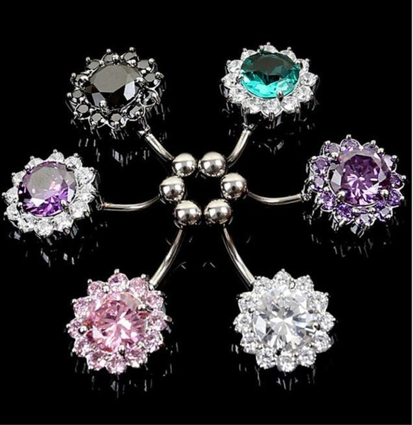 Round Belly Rings Navel Piercing Jewelry Clear Red Pink Cubic Zirconia Plugs And Tunnels Dangle Belly Button Rings