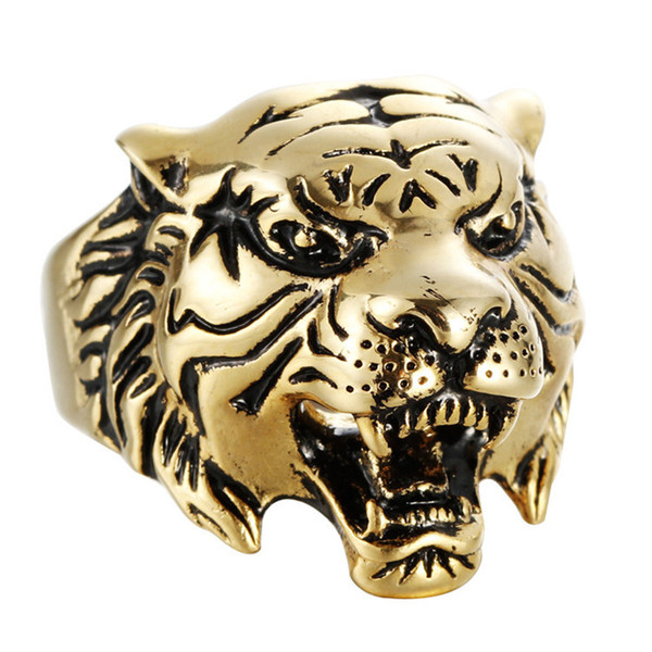 Europe Stainless steel tiger head ring Vintage titanium steel ring for men mix size 7 to 13