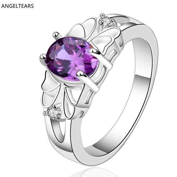 whole saleWholesale cheap silver color purple zircon engagement / wedding ring fashion jewelry for women drop shipping anel bague