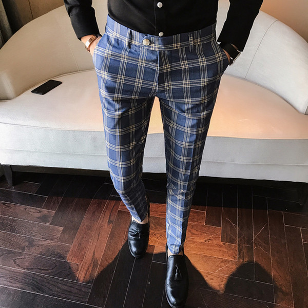 Männer Kleid Hose Plaid Business Casual Slim Fit Pantalon Eine Carreau Homme Klassische Vintage Check Anzughose Hochzeit Hosen