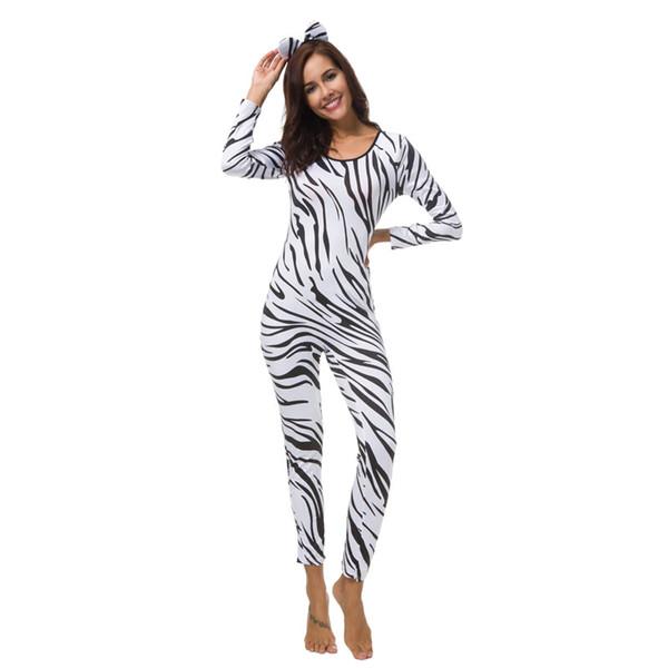 Halloween Zebra Costume Zebra Cosplay Clothing Zebra Leopard Bodysuit Sexy Cat Girl Body Suit Halloween Cat Girl Cosplay Costume