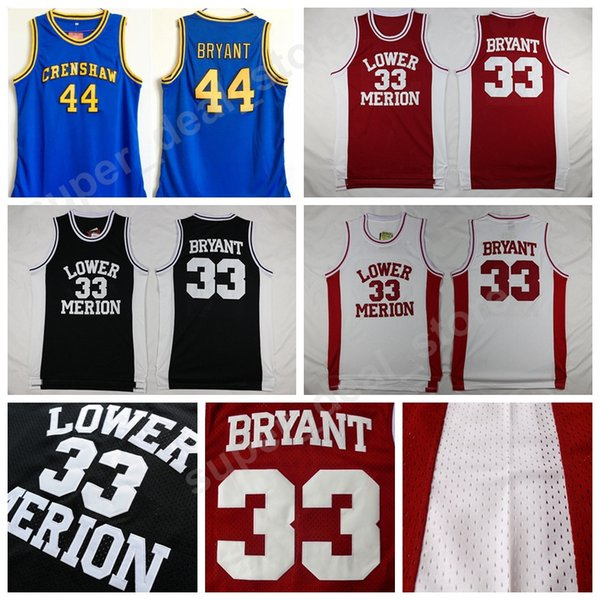 de71f95bff8 Lower Merion 33 Kobe Bryant College Jerseys Basketball Hightower Crenshaw  High School 44 Bryant Jersey Red White Blue Stitched Free Shipping on sale