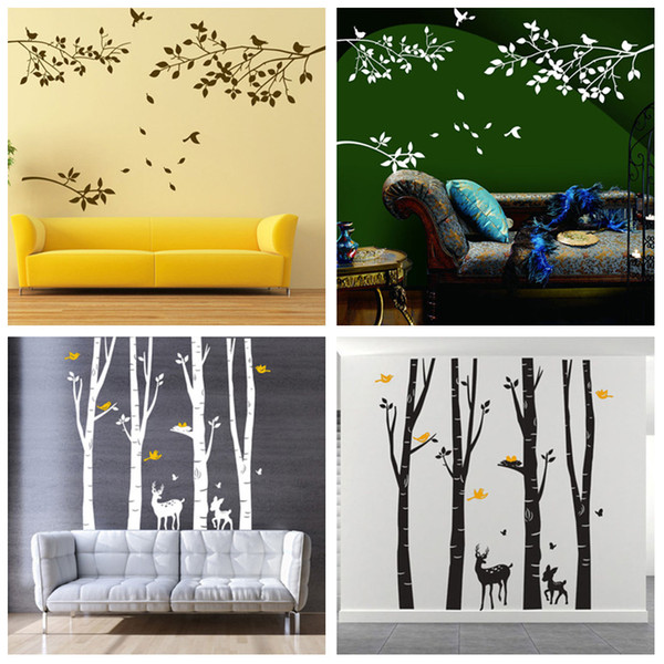 Wholesale 4 Designs Part of Forest Wall Stickers Wallpaper Paper Peint 3d Home Decor Bathroom Kitchen Accessories Household Suppllies