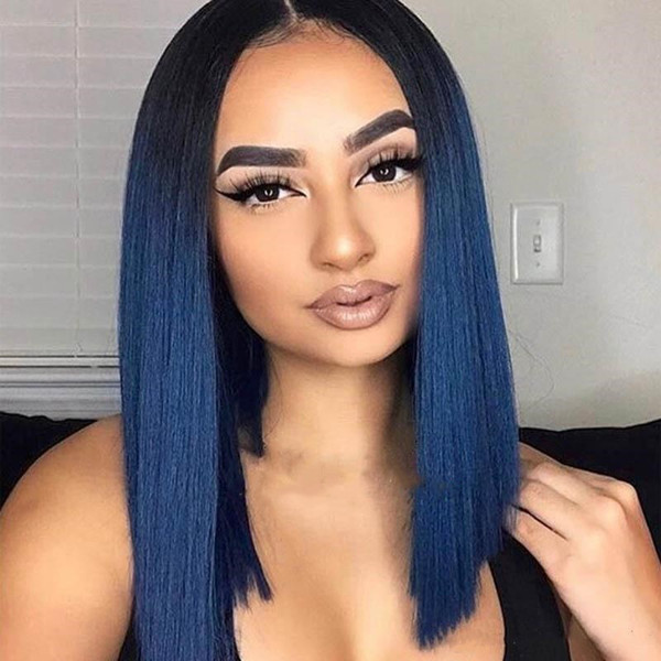 Ombre Blue Short Bob Full Lace Wigs Glueless Two Tone Blue Silky Straight Lace Front Human Hair Wigs For Women With Natural Hairline