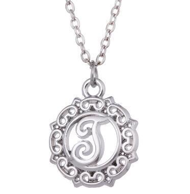 lemegeton Fashion Round Shaped Initial Letter Pendant Silver Color Jewelry Accessories Women Necklace Wholesale Retail Fashion