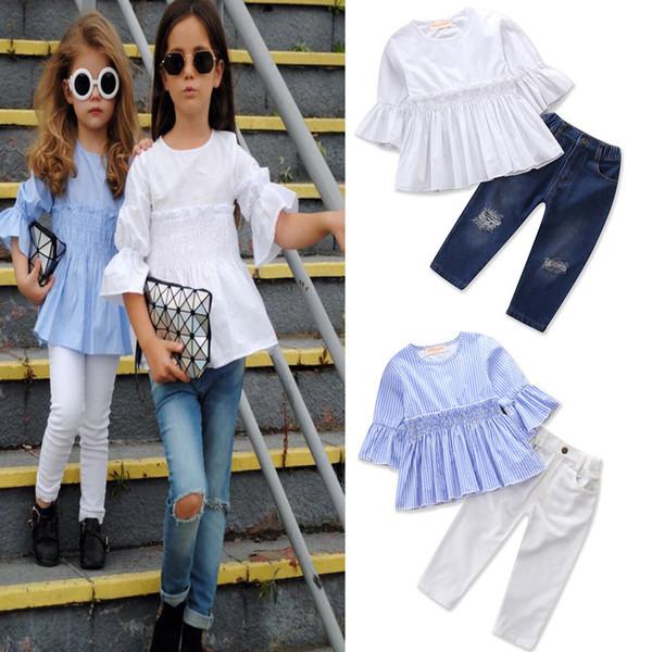 Yeni Bebek Kız Kardeş Setleri Yaz Bahar Giyim Seti Yarım Kollu Gömlek + Kot Pantolon Çocuklar Ins Moda Rahat 2 adet Set Kıyafet