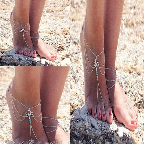 Silver Bride Anklets Attached the Toes Bridal Jewelry Boho Women Feet Chains Barefoot Accessories Bracelet for Party Wedding
